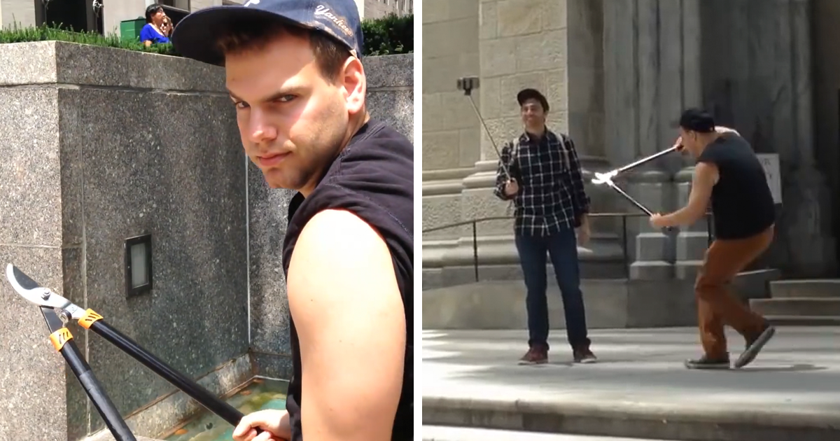 В Нью-Йорке ловят человека с секатором, который обрезает селфи-палки