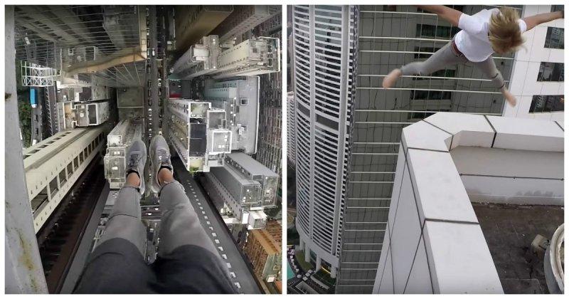 Это уже диагноз! Российский руфер сделал сальто на крыше небоскрёба в Гонконге