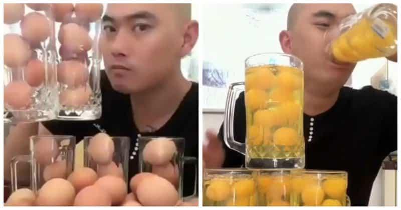 Азиат одним махом выпил несколько десятков яиц! Видео