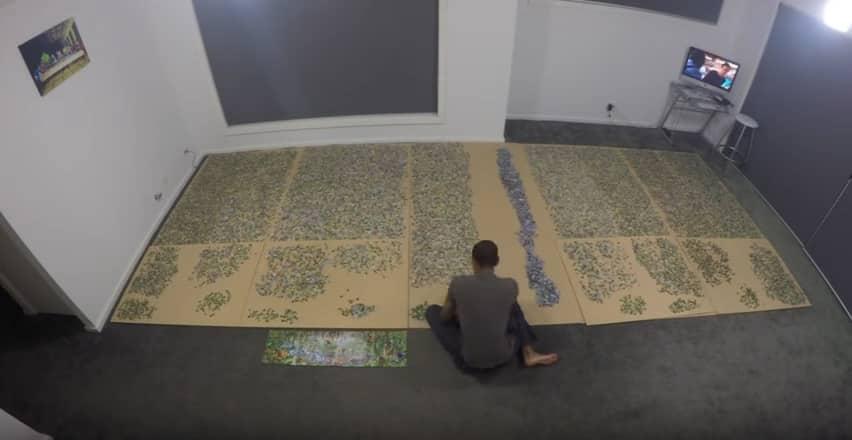 Сборка пазла, состоящего из 33 600 фрагментов. Видео
