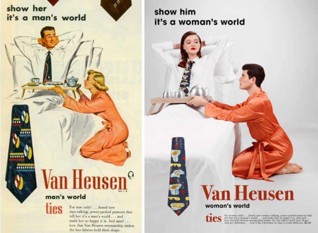 Фотограф поменял мужчин и женщин местами на старых рекламных плакатах. Справедливость восторжествовала! :)