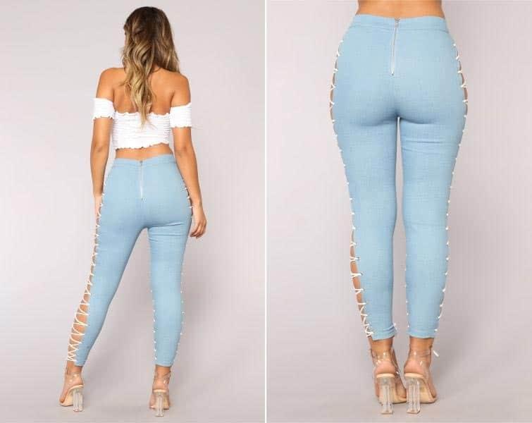 джинсы на шнурках 7