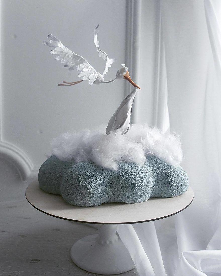 торт в форме аиста