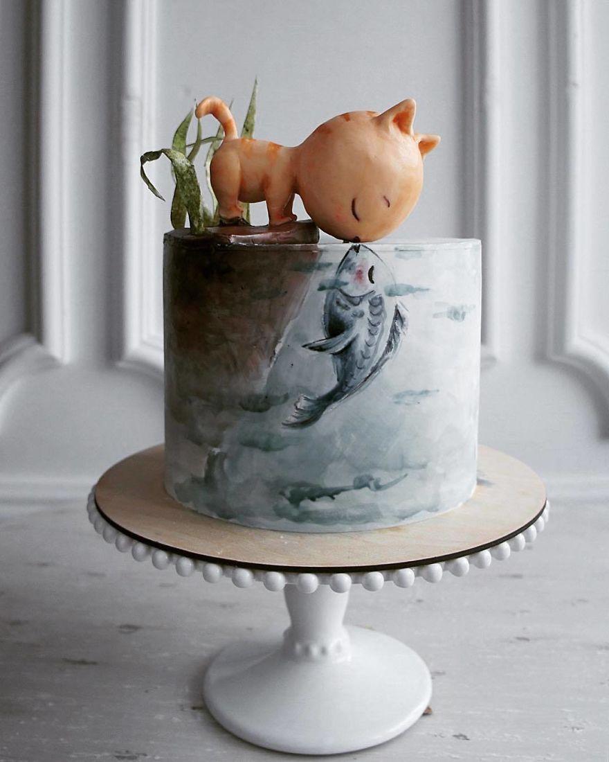 торт с фигуркой кота