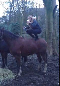 девушка стоит на лошади gif