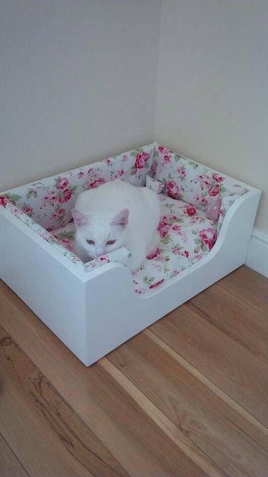 белая кошка лежит в кроватке