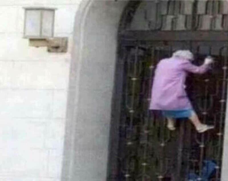 бабушка на воротах