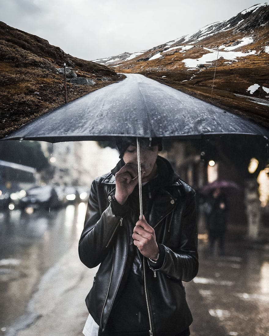 парень под зонтом