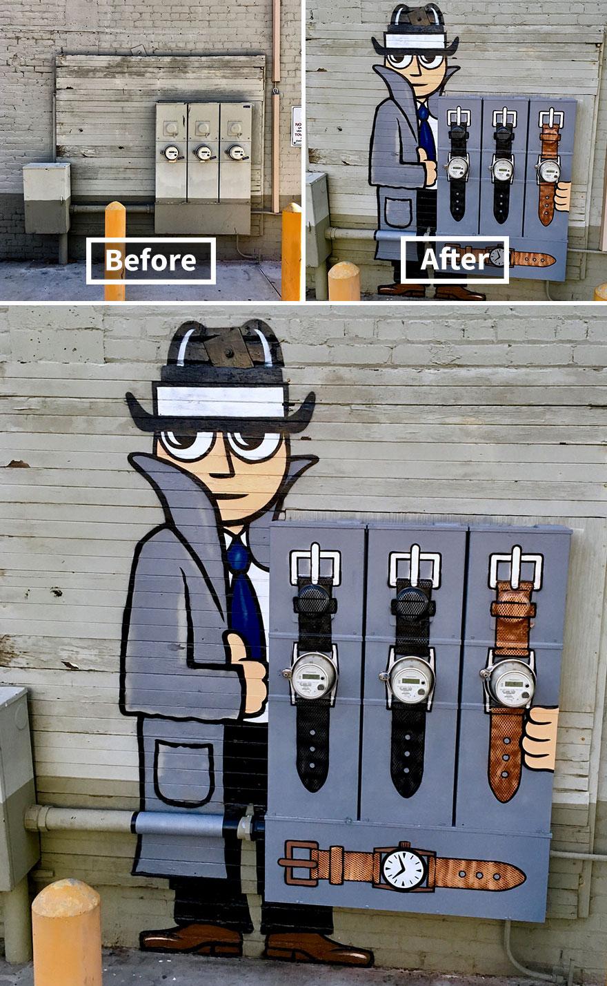 парень с часами стрит-арт