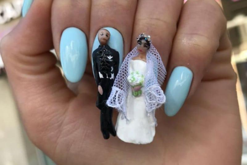 Маникюр с женихом и невестой