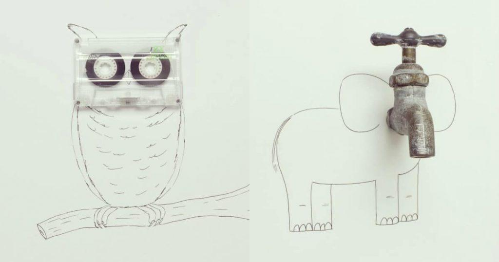 Художник превращает обычные предметы в забавные иллюстрации!