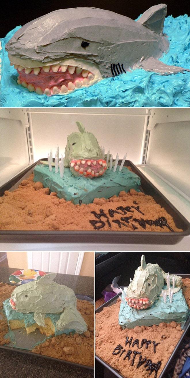 торт в форме акулы