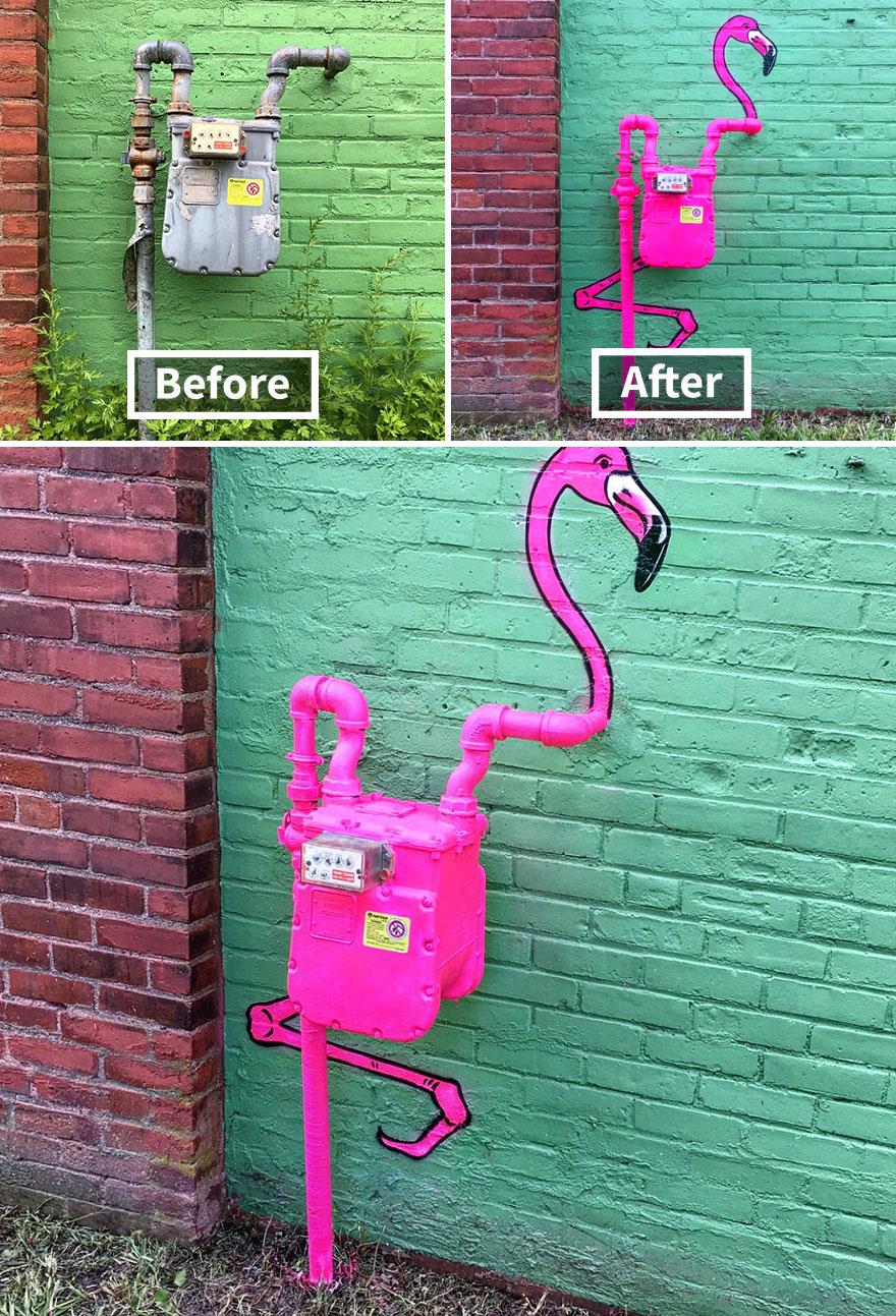 стрит-арт фламинго