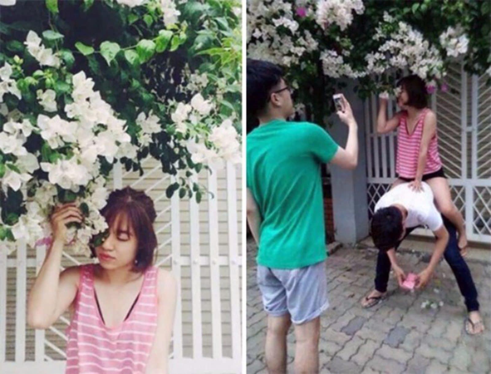 девушка у цветущего дерева