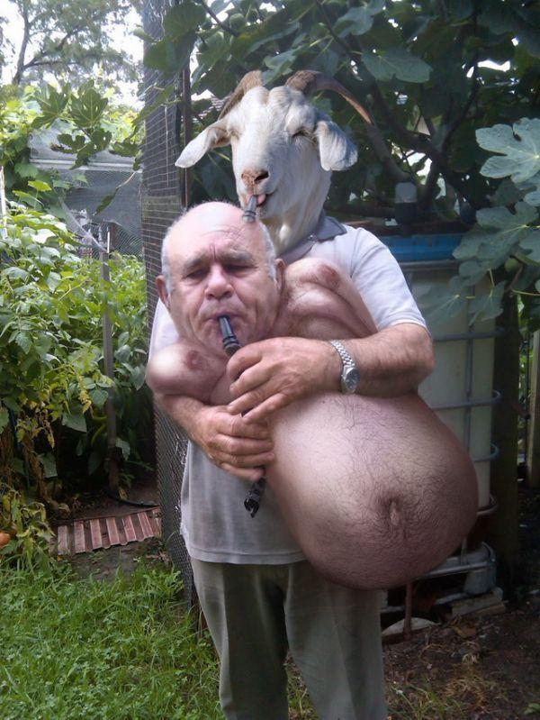 мужчина и козел фотошоп