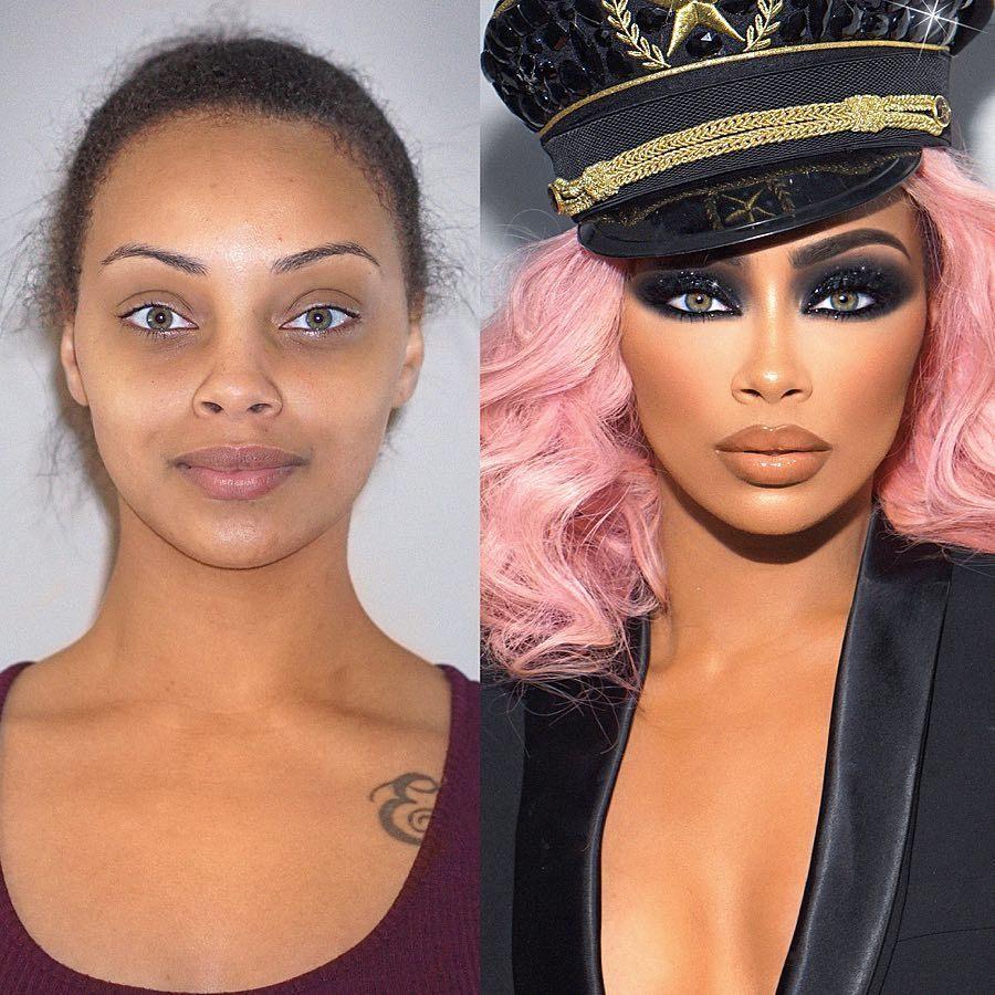 девушка до и после макияжа