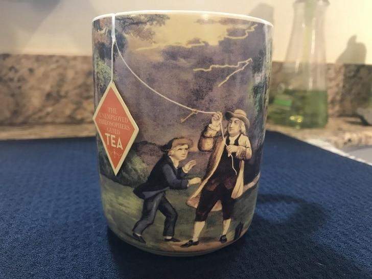 чашка с держателем для пакетика чая