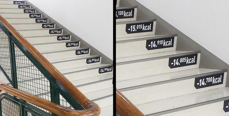 лестница со счетом калорий