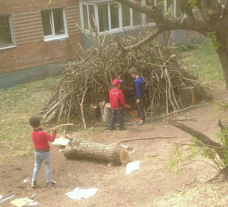 мальчики строят халабуду