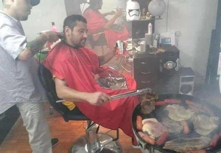 еда в парикмахерской