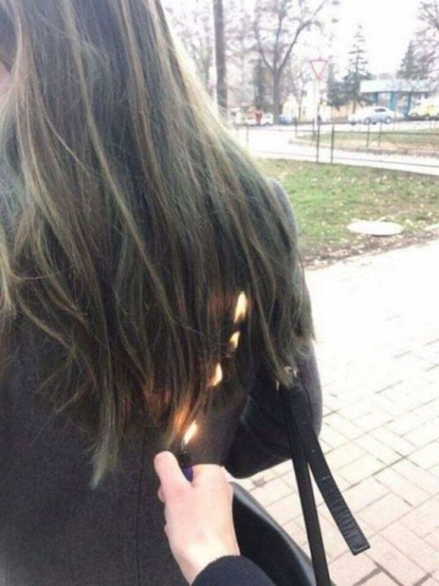 кто-то поджег волосы зажигалкой