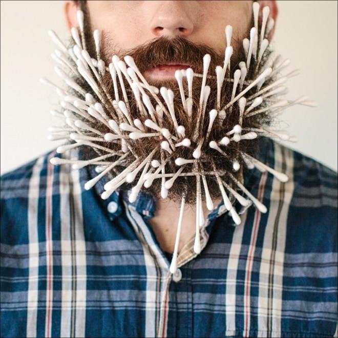 ватные палочки в бороде