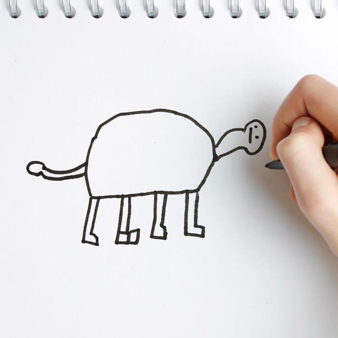 детский рисунок коровы