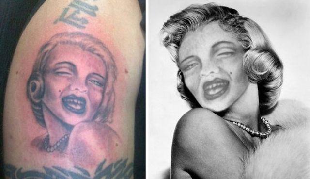 неудачная татуировка Мэрилин Монро
