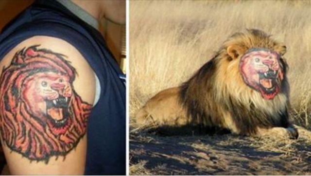 неудачная татуировка льва