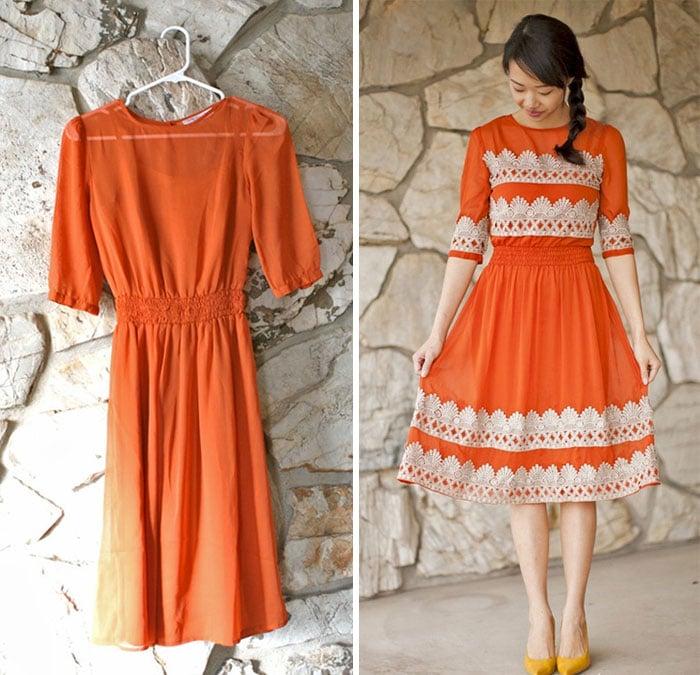 женщина оранжевом платье