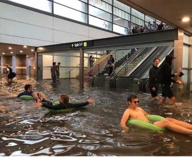 люди плавают в торговом центре