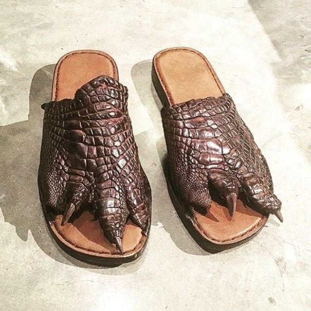 шлепанцы из крокодиловой кожи