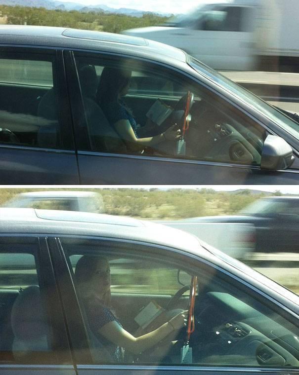 девушка с книгой за рулем