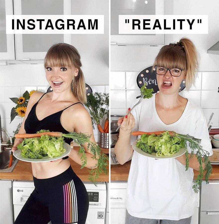 Инстаграм и жизнь: девушка и еда