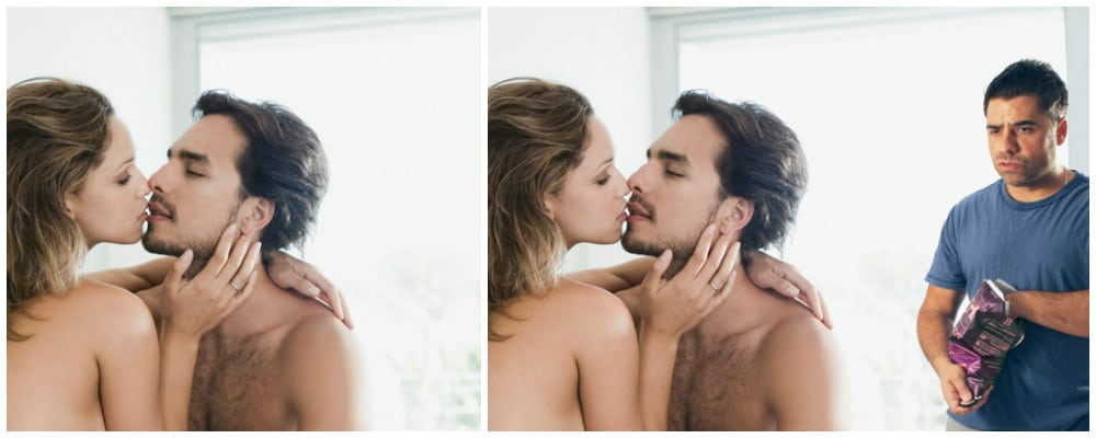 влюблённая пара и мужчина с чипсами