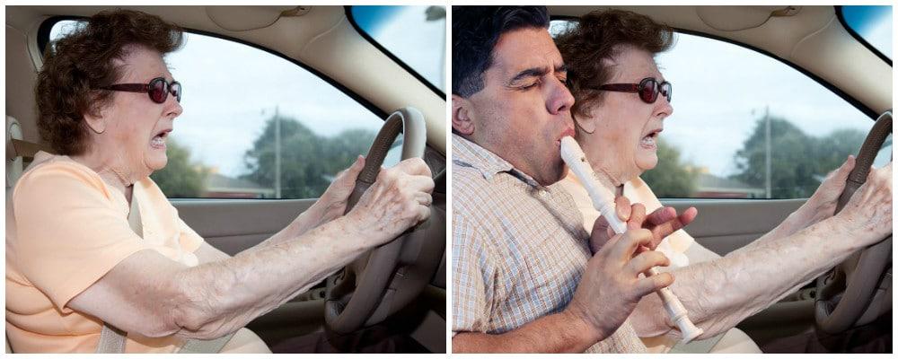 женщина за рулём и мужчина играет на флейте