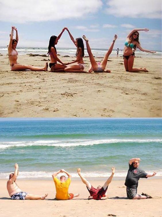 женщины и мужчины на пляже