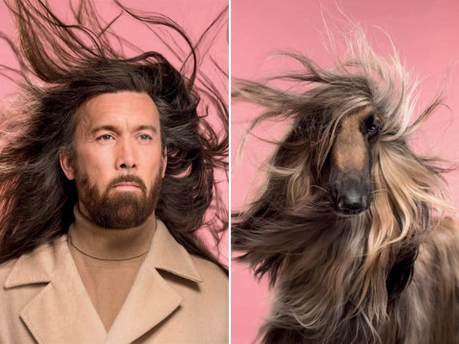 длинноволосый мужчина и собака
