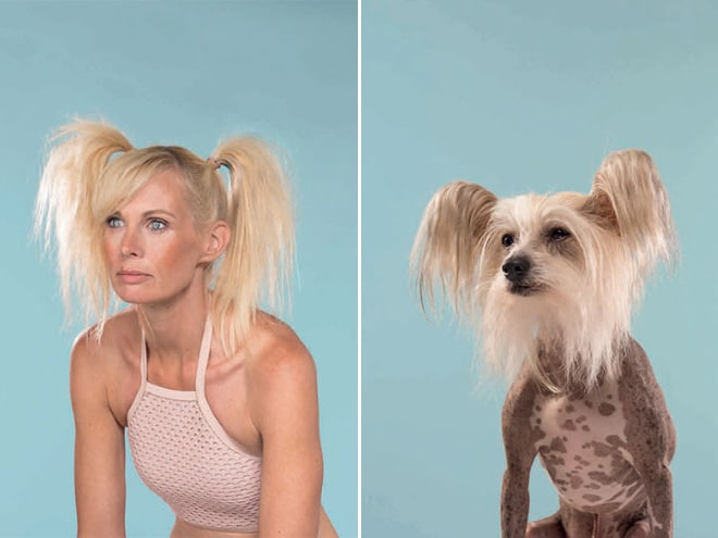 блондинка и собака