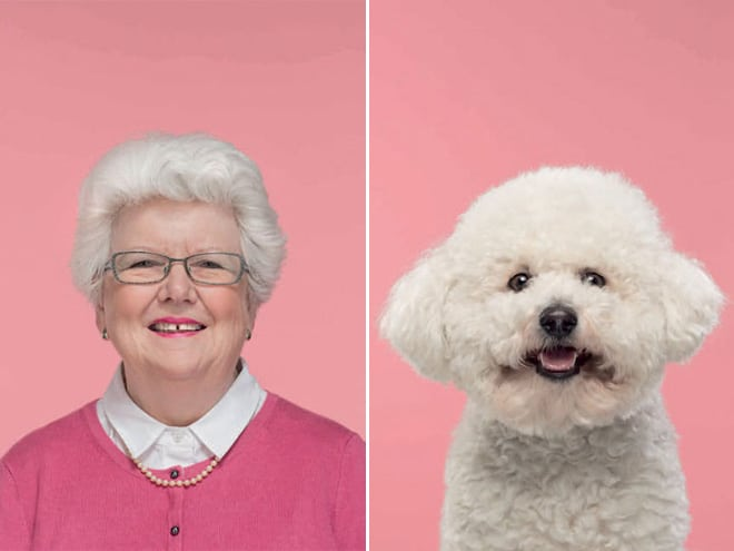 пожилая женщина и пудель