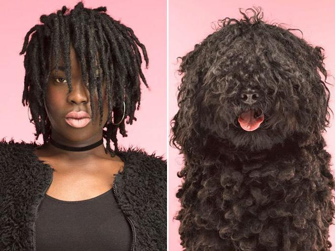 чернокожая женщина с собакой