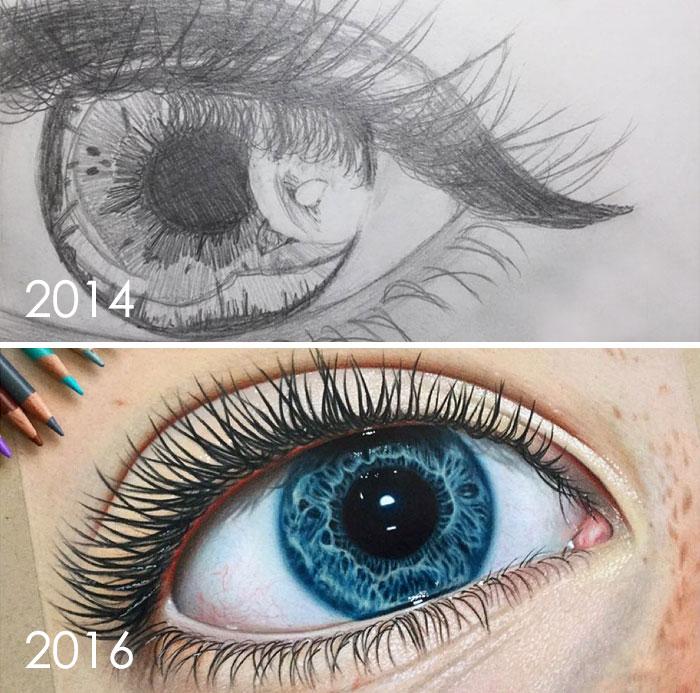 тогда и сейчас: рисунок глаза