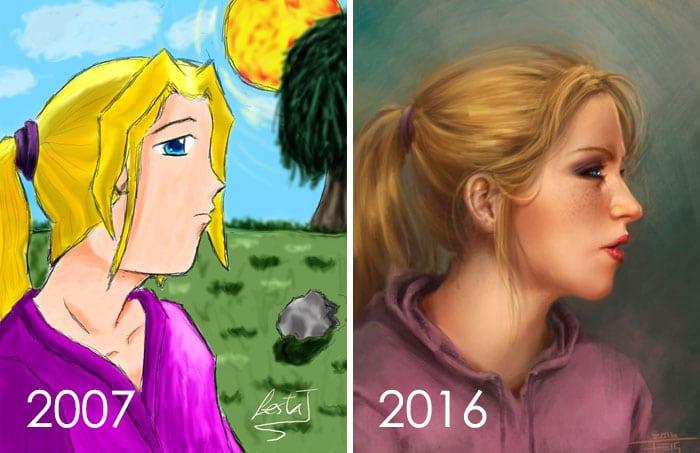 тогда и сейчас: рисунок девушки