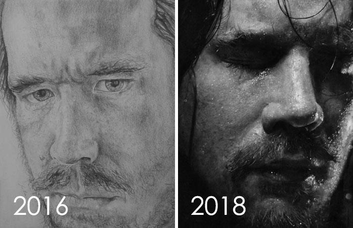 тогда и сейчас: рисунок мужчины