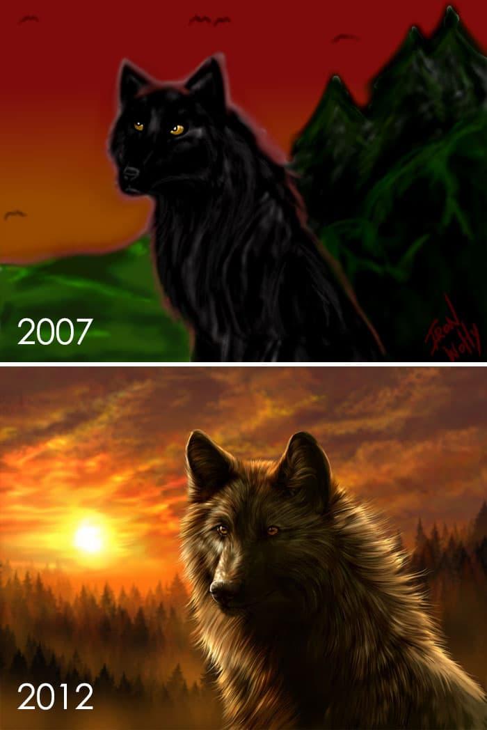 тогда и сейчас: рисунок волка