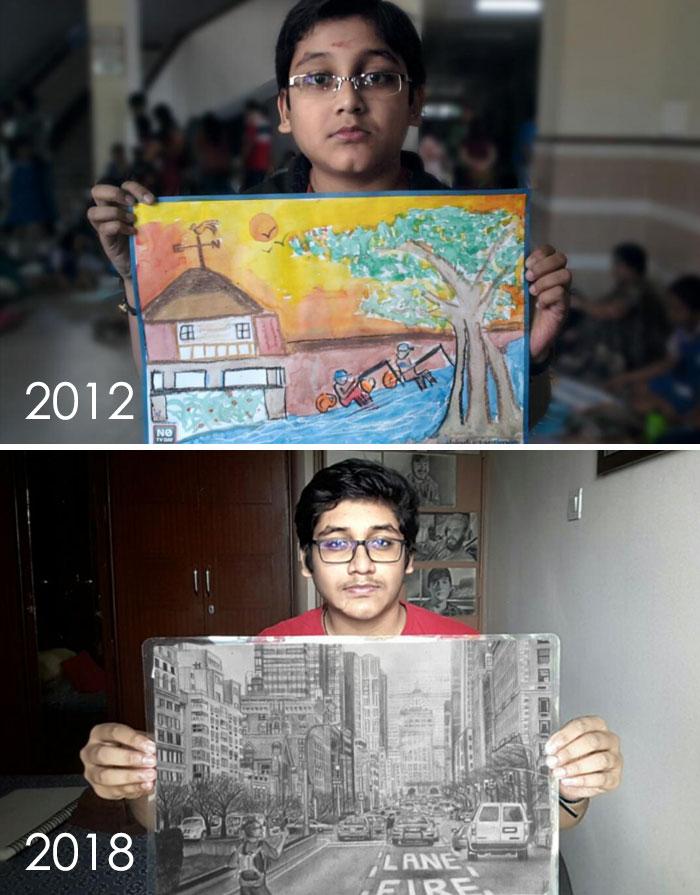 тогда и сейчас: рисунок города