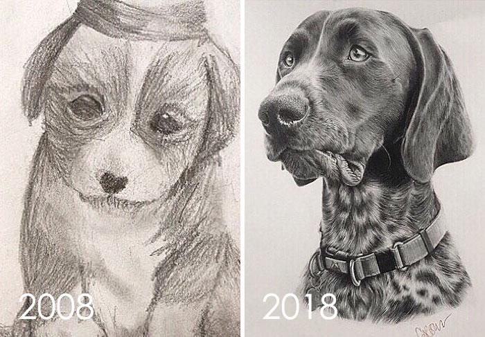 тогда и сейчас: рисунок собаки