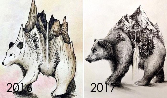 тогда и сейчас: рисунок медведя