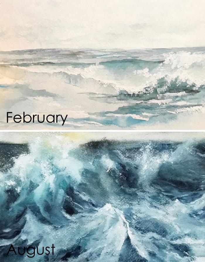 рисунок акварелью море