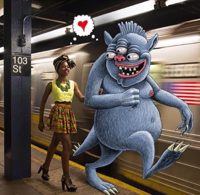 чернокожая девушка в метро